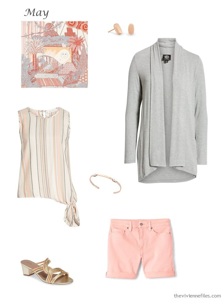 14. grey cardigan, striped top and blush shorts
