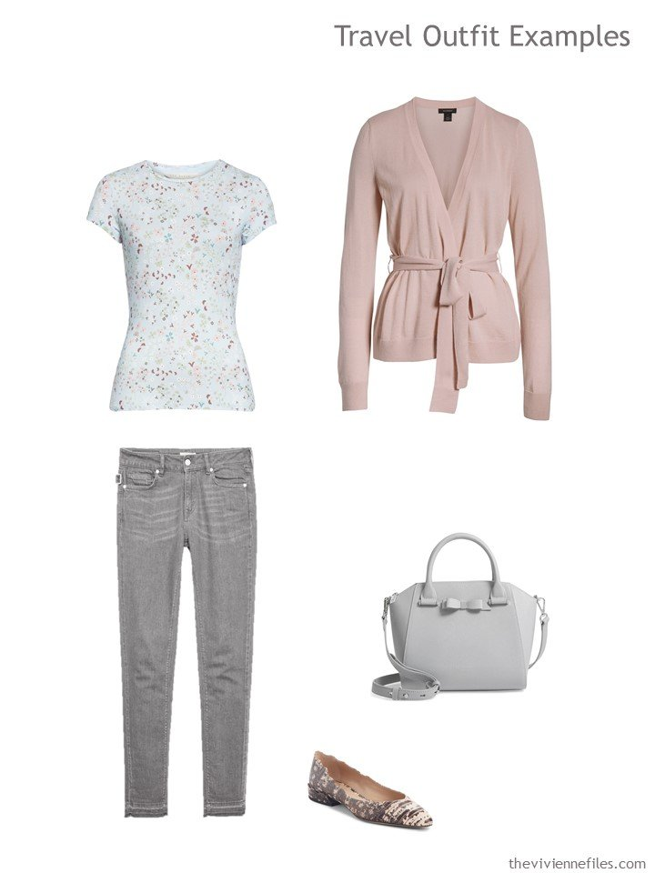 14. travel outfit in pink and grey