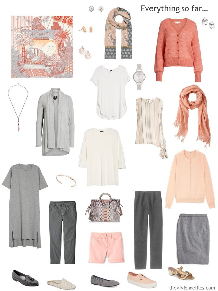 15. travel capsule wardrobe in shades of grey, ivory and peach