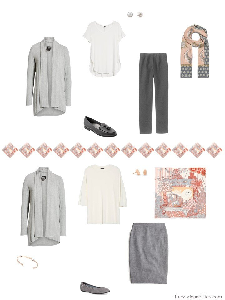 16. 2 ways to wear a grey cardigan from a travel capsule wardrobe
