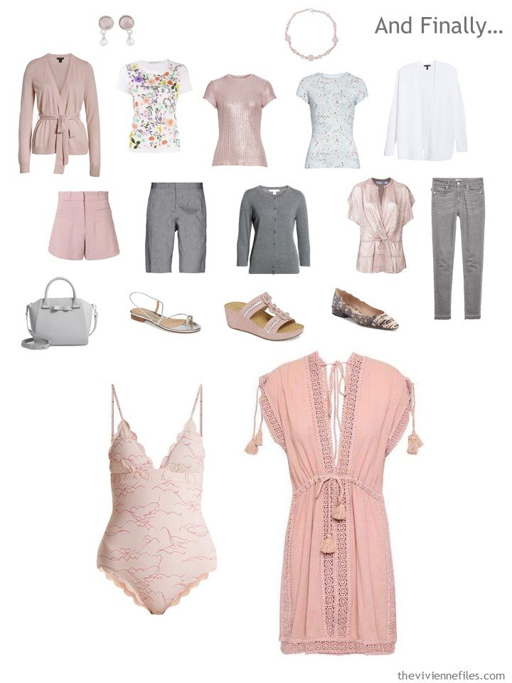 17. adding a swimsuit and coverup to a pink, grey and white travel capsule wardrobe