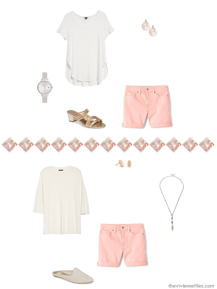 18. 2 ways to wear blush shorts from a travel capsule wardrobe