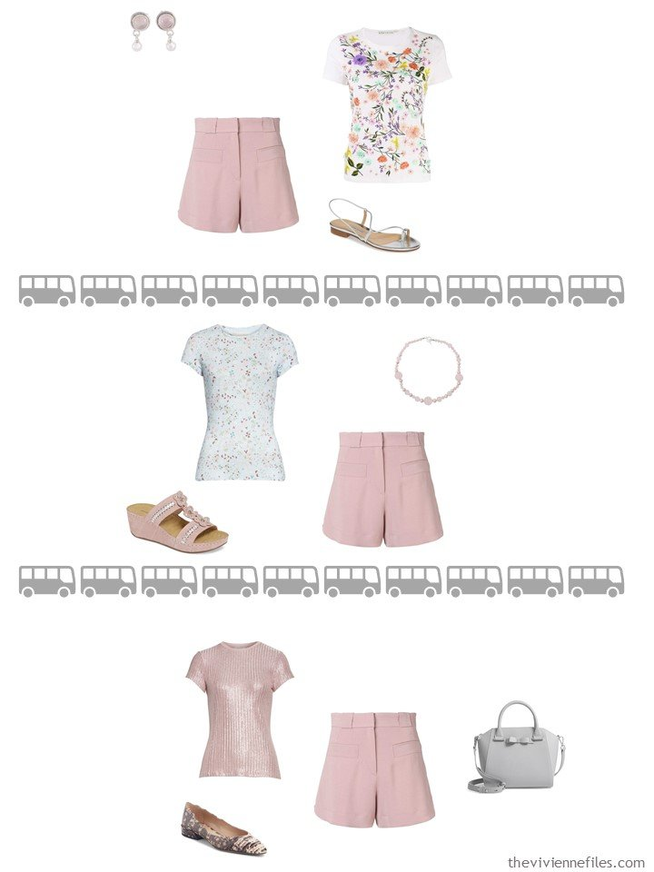 18. 3 ways to wear blush shorts from a travel capsule wardrobe