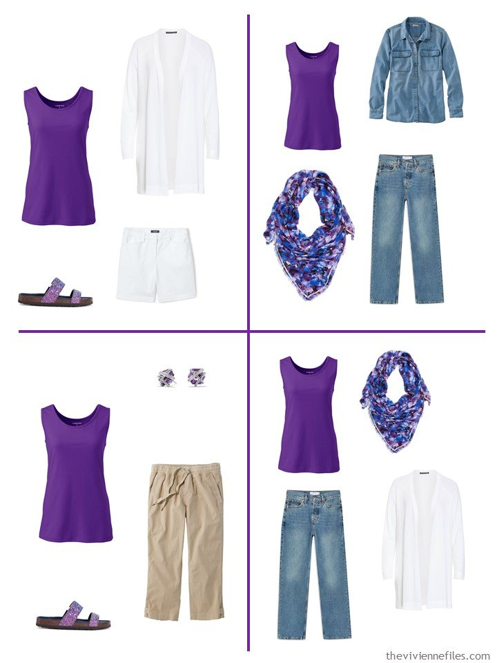 19. 3 ways to wear a purple jewel sleeveless top