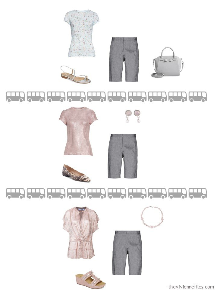 19. 3 ways to wear grey shorts from a travel capsule wardrobe