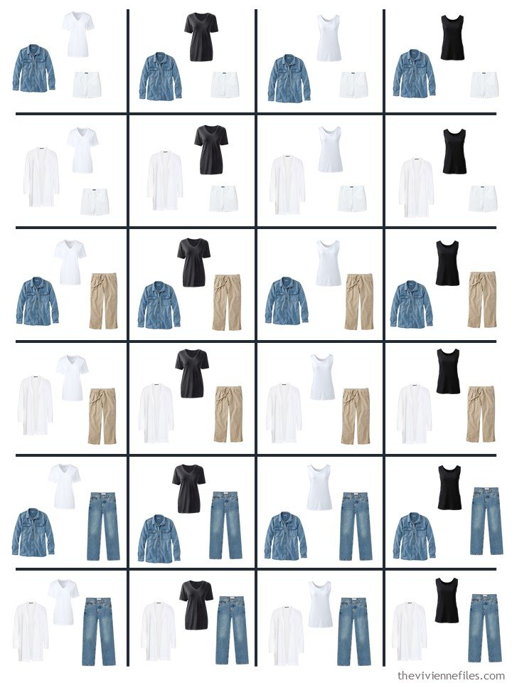 2. 24 outfits from 9 garments for summer