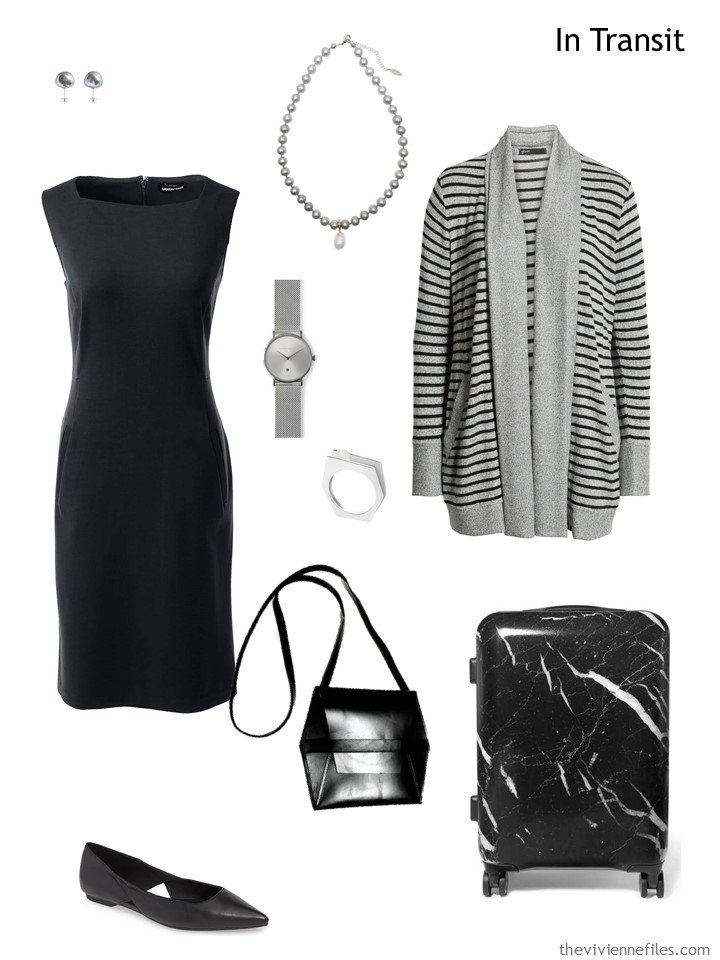 2. black and grey travel outfit