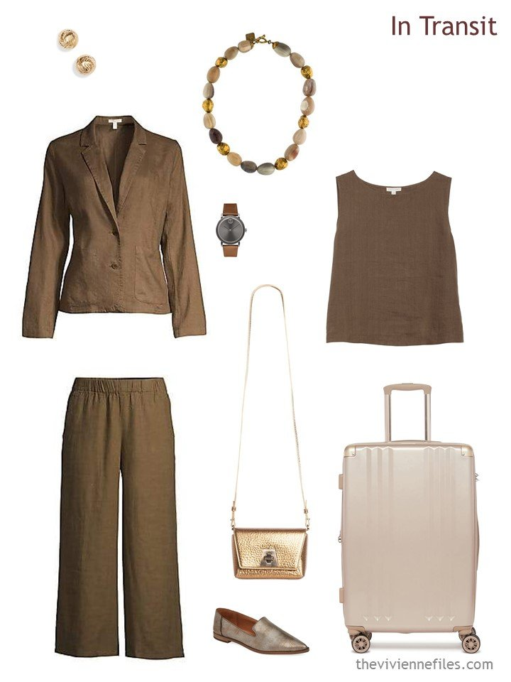 2. brown summer travel outfit