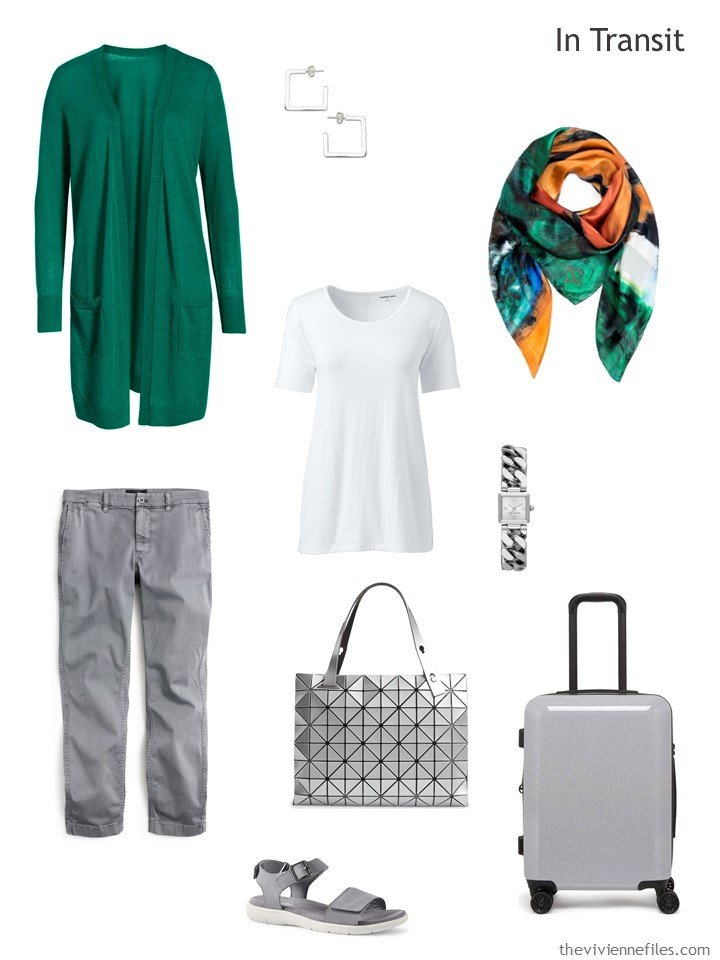 2. grey, green and white travel outfit