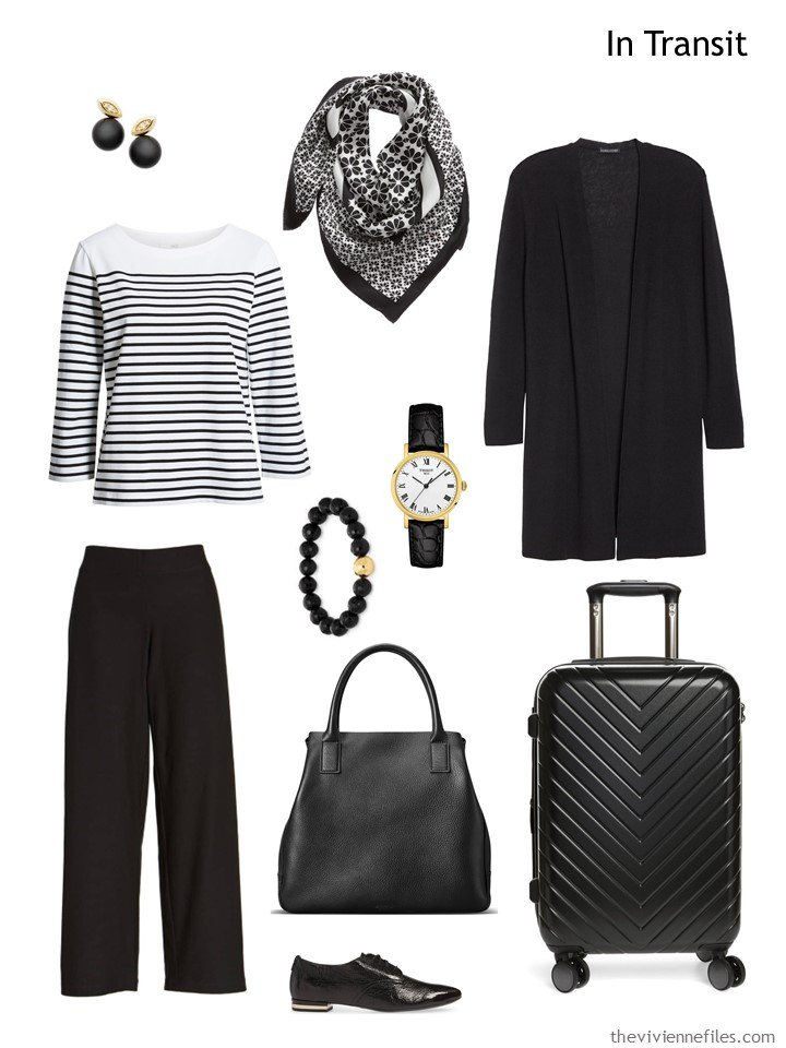 2. travel outfit in black and white