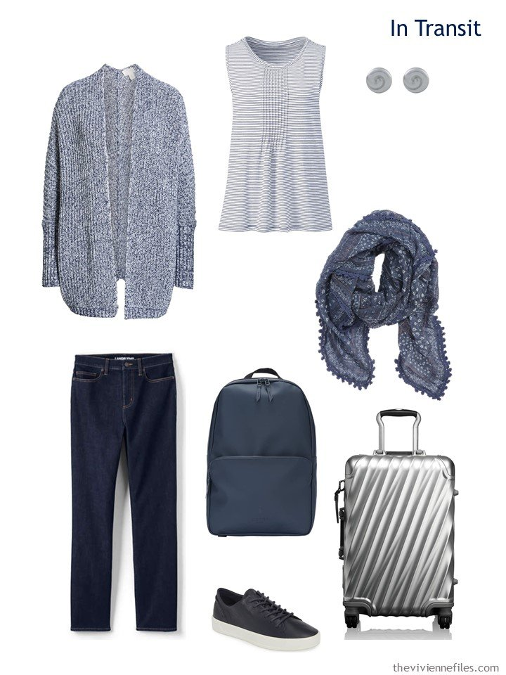 2. travel outfit in navy and white for spring