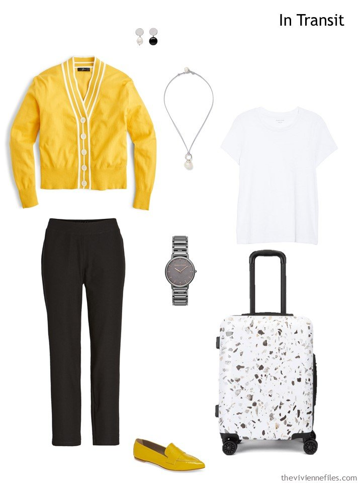2. travel outfit in yellow, black and white