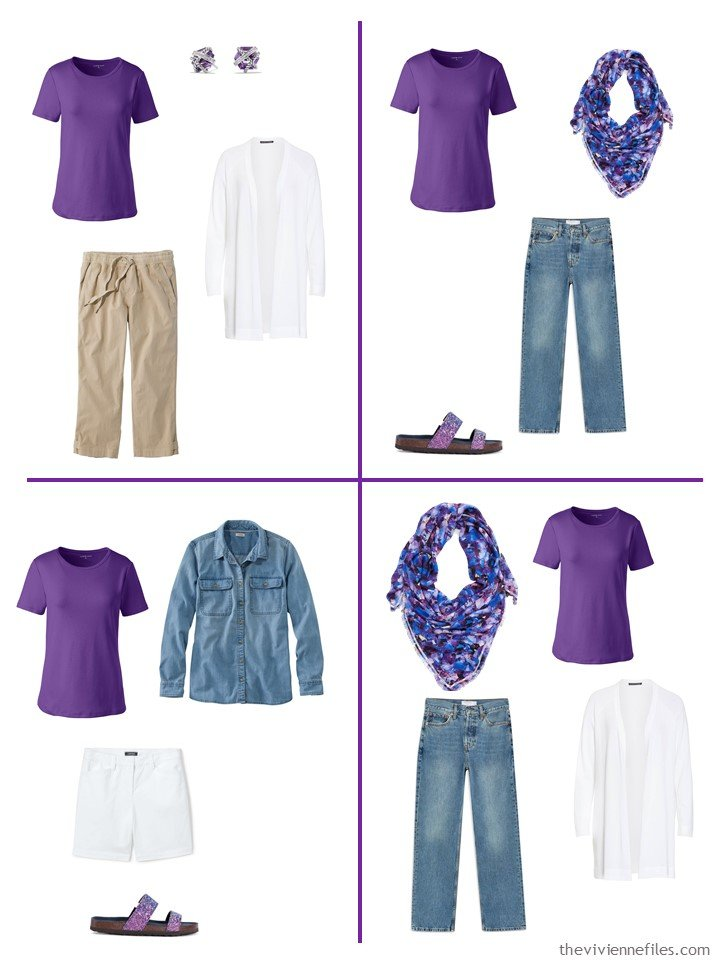 20. 4 ways to wear a purple jewel tee shirt