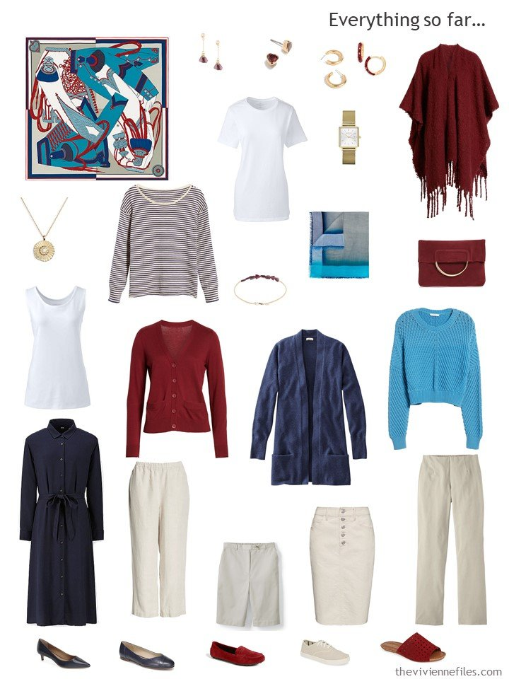 21. travel capsule wardrobe in navy, beige, turquoise and red