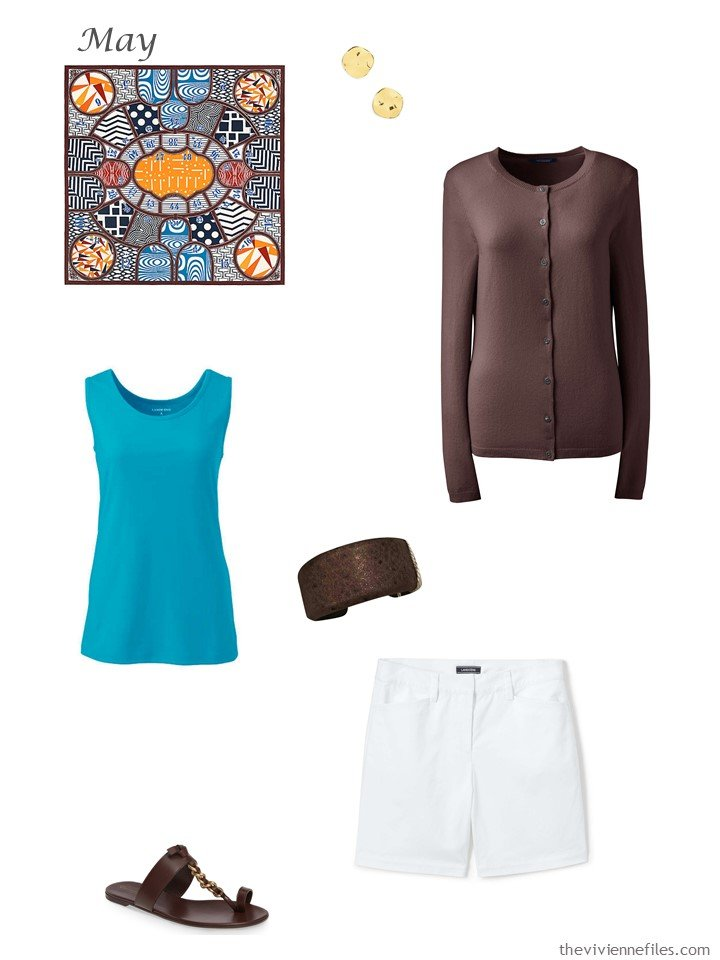 26. brown cardigan, turquoise tank top and white shorts
