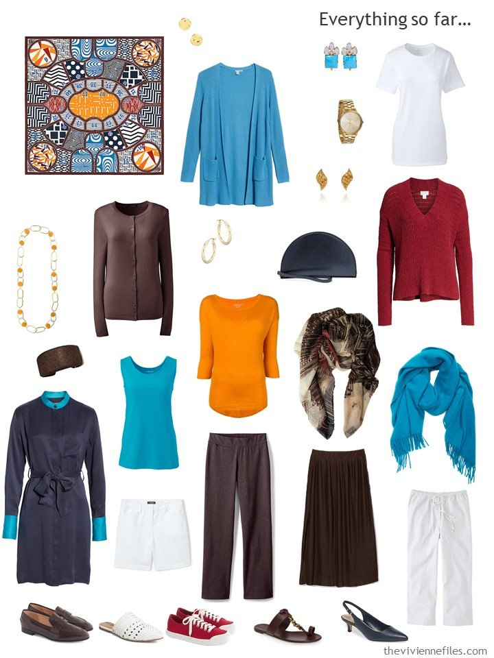 27. travel capsule wardrobe in navy, brown, turquoise, orange and white
