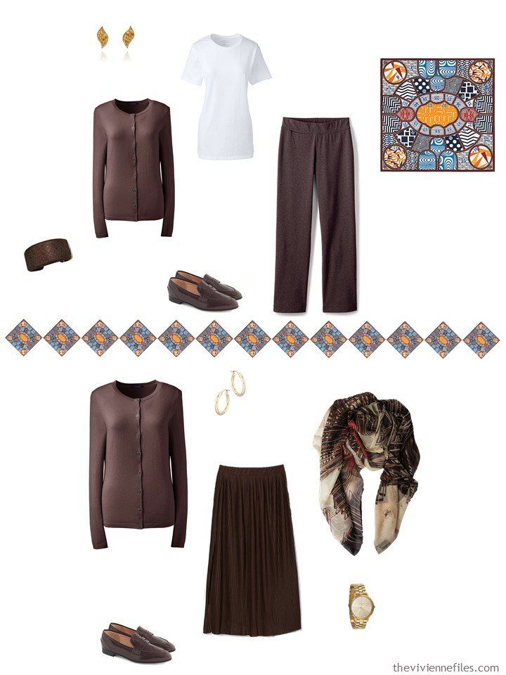 28. 2 ways to wear a brown cardigan from a travel capsule wardrobe