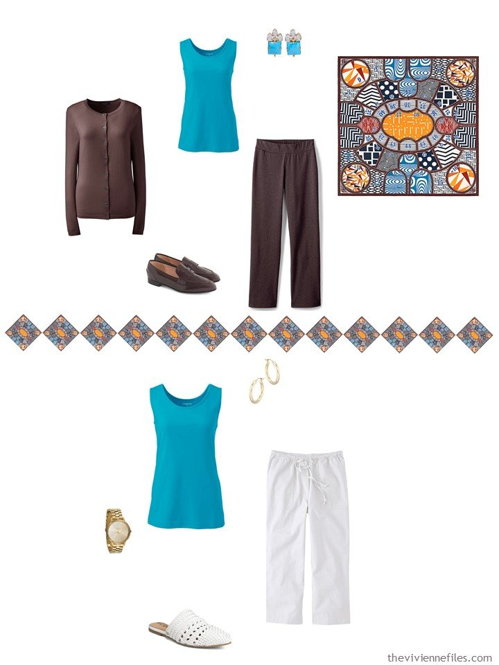 29. 2 ways to wear a turquoise tank top from a travel capsule wardrobe