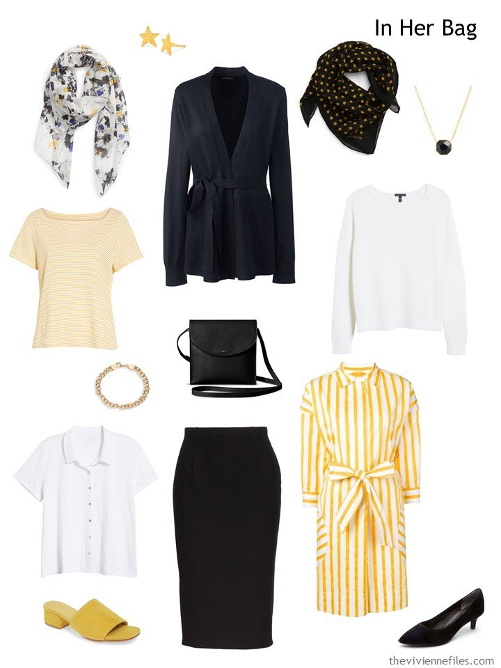 3. Six-pack travel capsule wardrobe in black, white and yellow