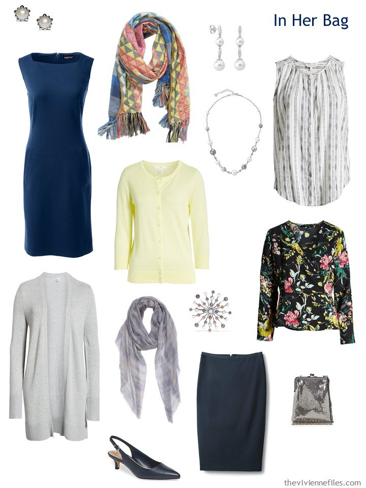 3. Travel capsule wardrobe in navy, grey, yellow and white