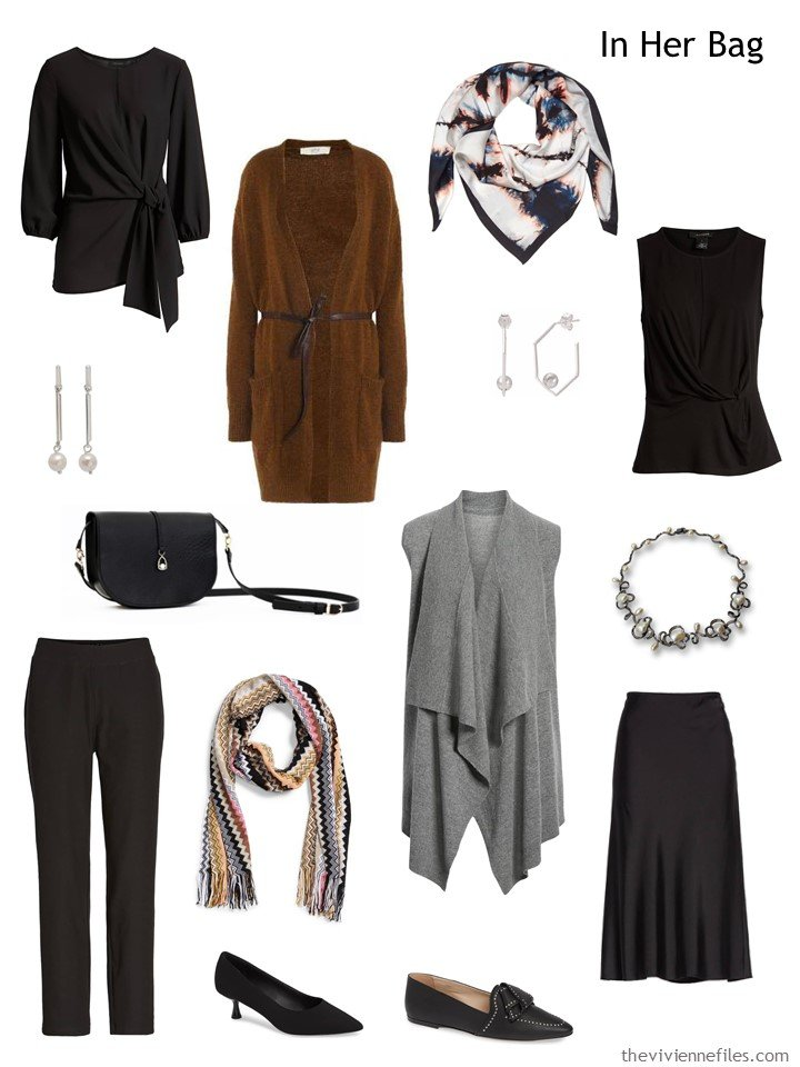 3. black, grey and brown 6-Pack travel capsule wardrobe
