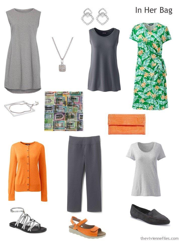 3. grey, orange and green Six Pack travel capsule wardrobe