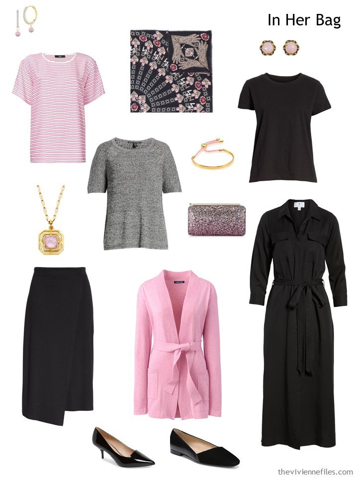3. travel capsule wardrobe in black, white and pink