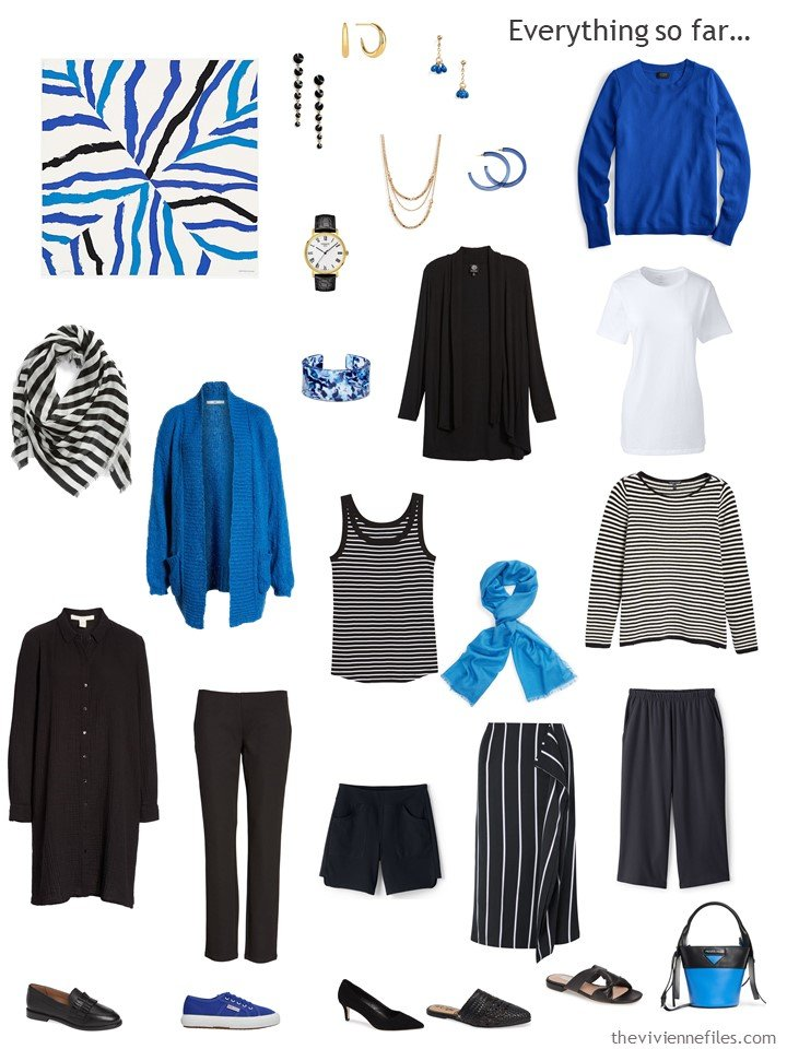3. travel capsule wardrobe in black, white and shades of blue