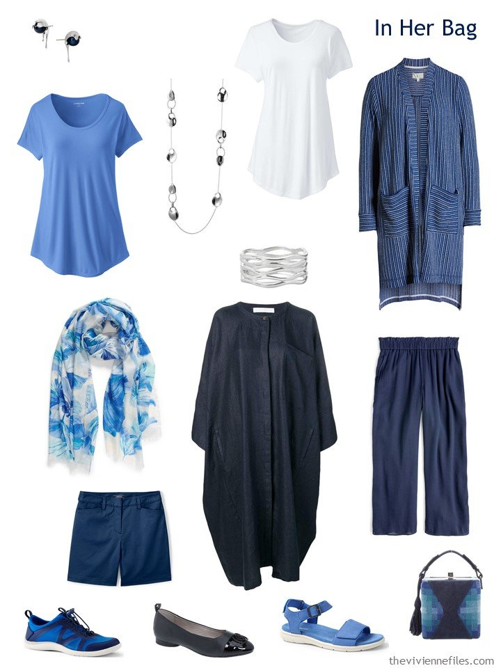 3. travel capsule wardrobe in navy, blue and white