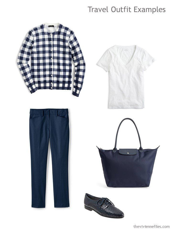 3. travel outfit in navy and white