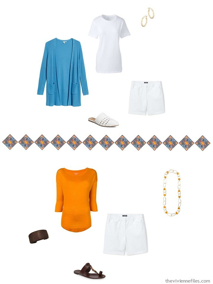 30. 2 ways to wear white shorts from a travel capsule wardrobe