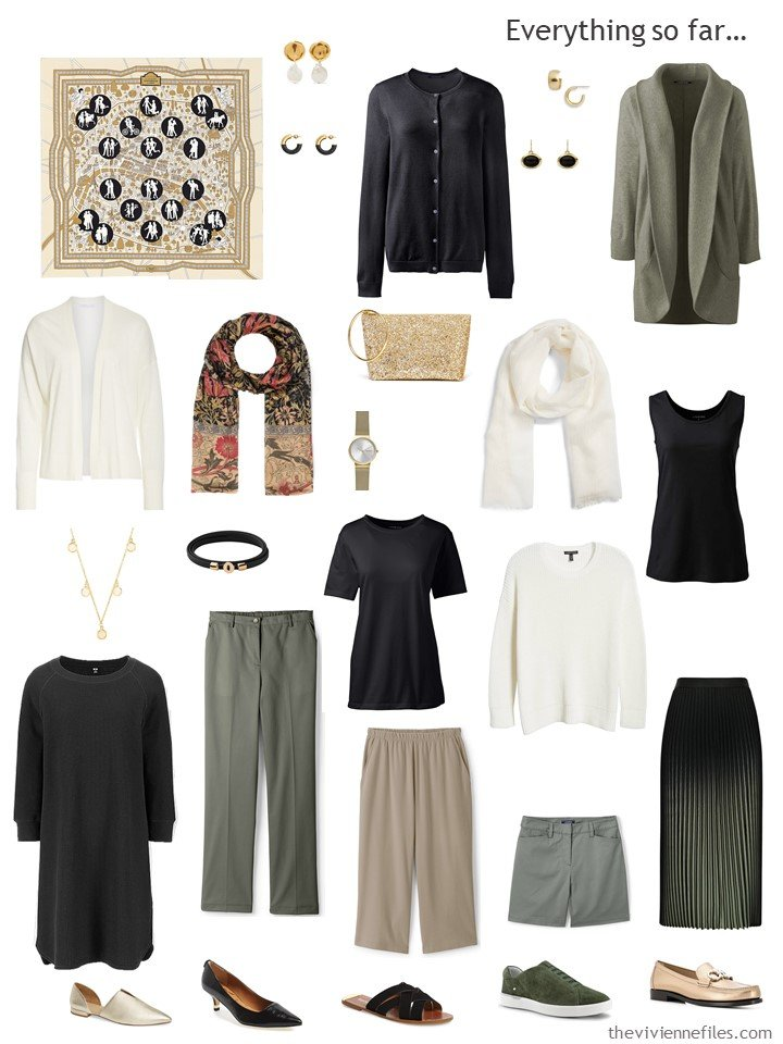 33. travel capsule wardrobe in beige, black, green and white