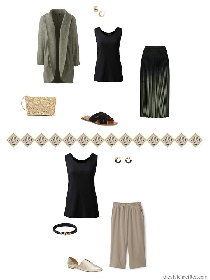 35. 2 ways to wear a black tank top from a travel capsule wardrobe