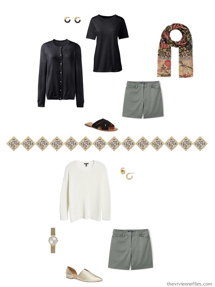 36. 2 ways to wear green shorts from a travel capsule wardrobe