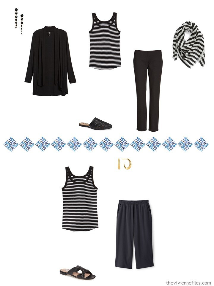 4. 2 ways to wear a striped tank top from a travel capsule wardrobe