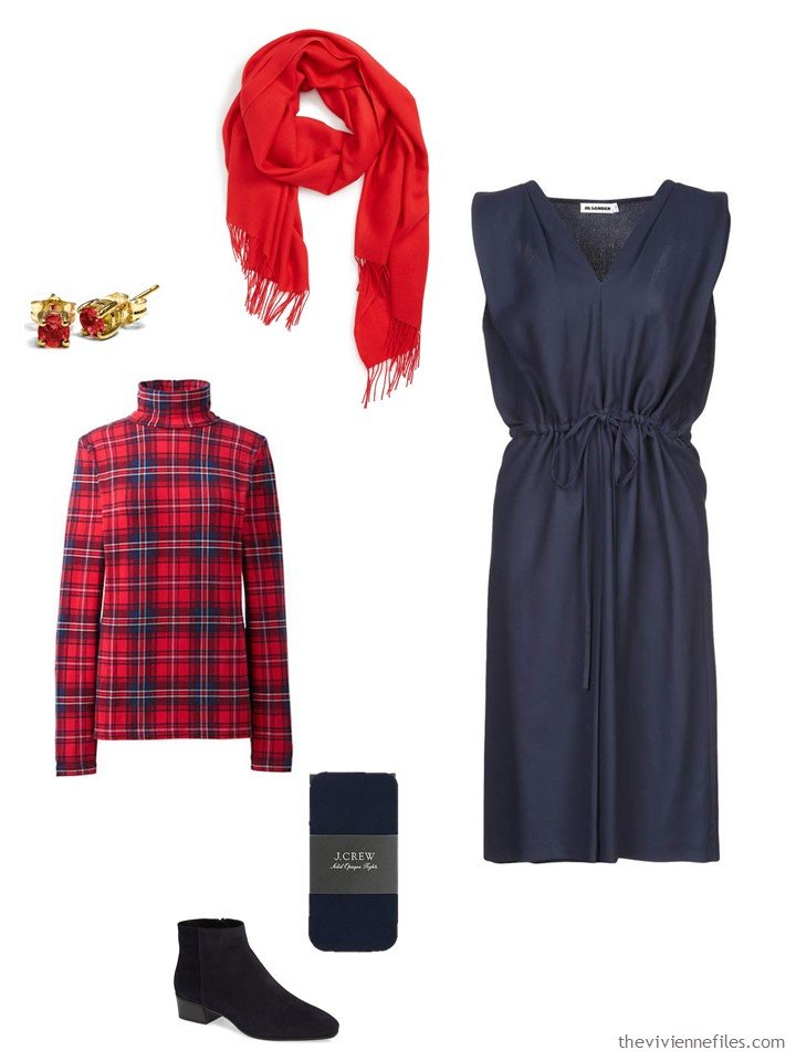 4. a plaid turtleneck with a navy dress