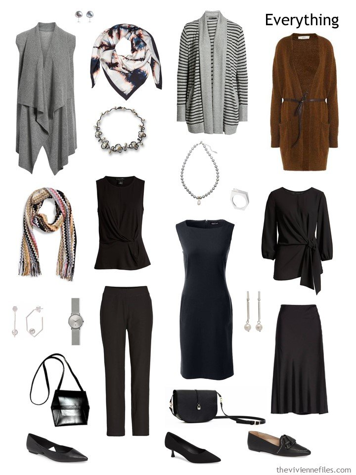 4. black, grey and brown travel capsule wardrobe