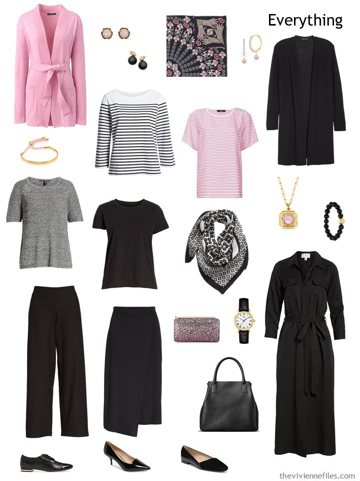 4. travel capsule wardrobe in black, pink and white