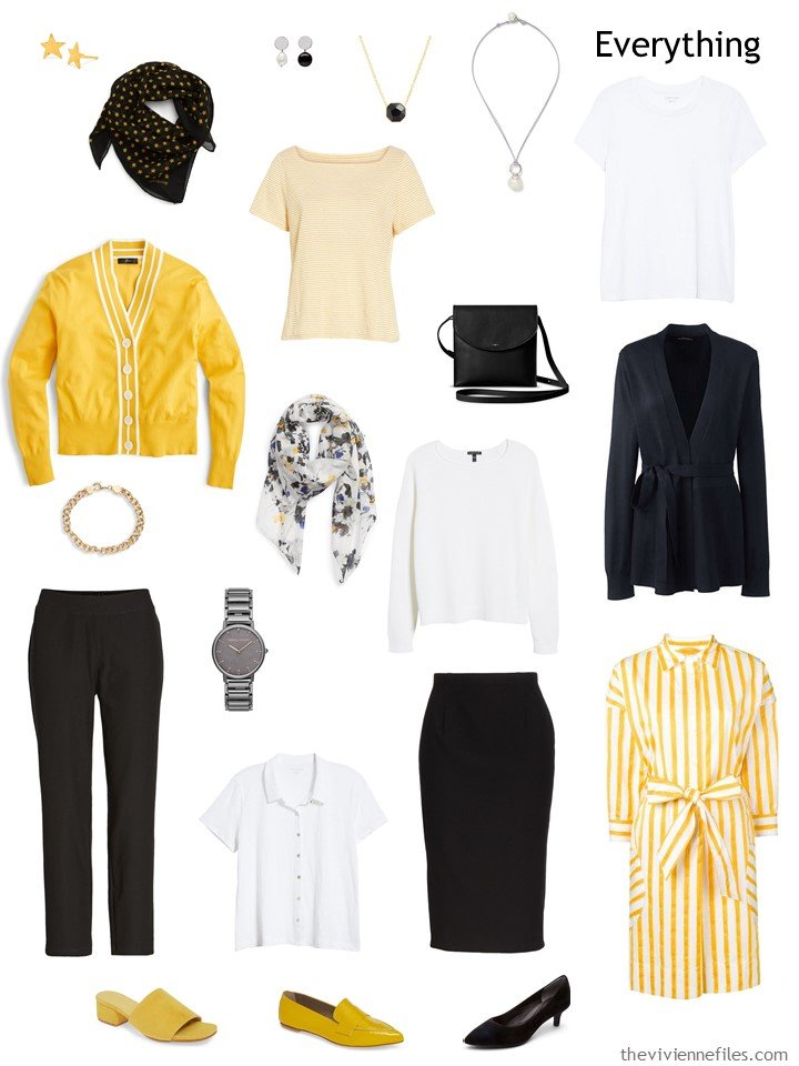 4. travel capsule wardrobe in black, white and yellow
