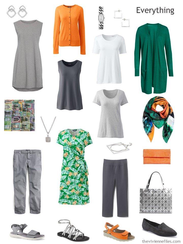 4. travel capsule wardrobe in grey, green and orange