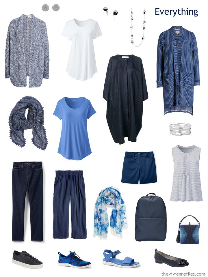 4. travel capsule wardrobe in navy, blue and white