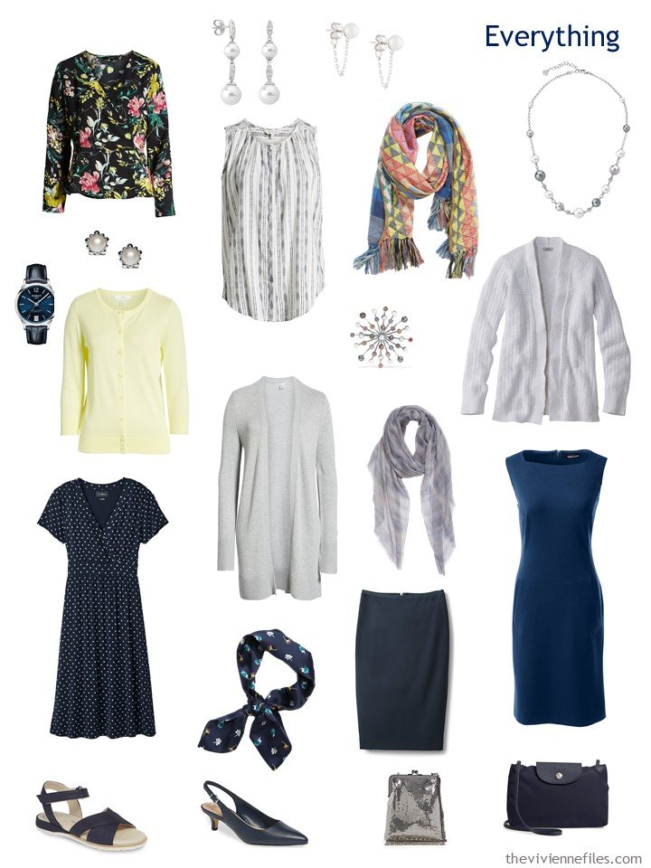 4. travel capsule wardrobe in navy, grey, yellow and white