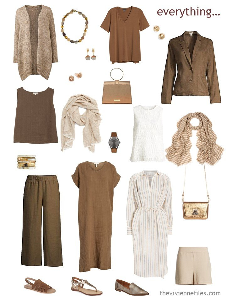 4. warm weather travel capsule wardrobe in brown, shades of beige, and ivory