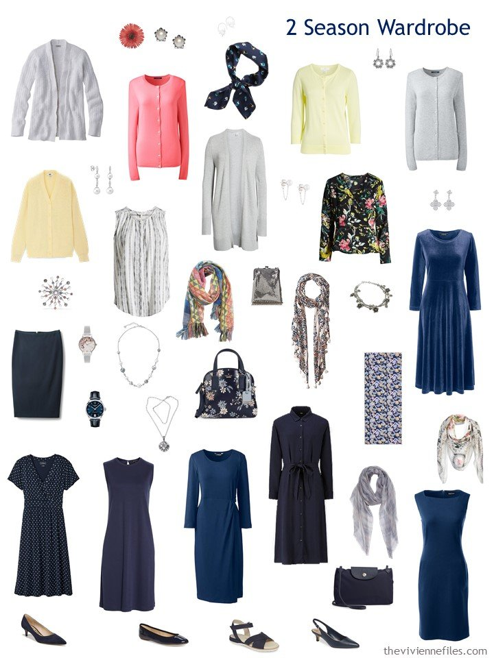 5. 2-season travel wardrobe in navy, grey, yellow, pink and white