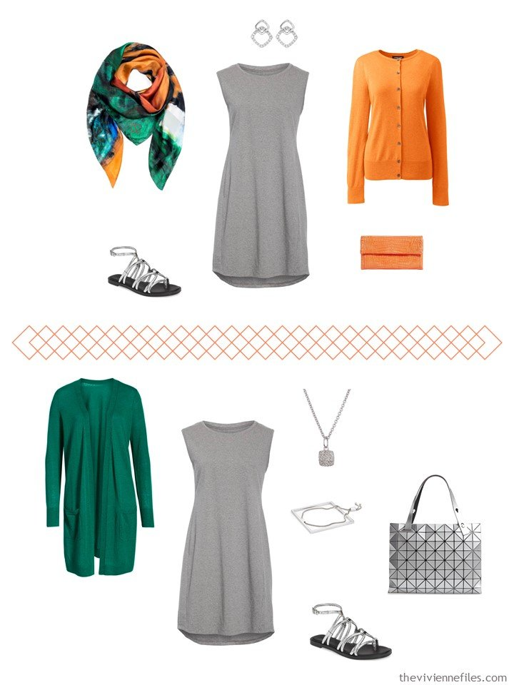5. 2 ways to wear a grey dress from a travel capsule wardrobe