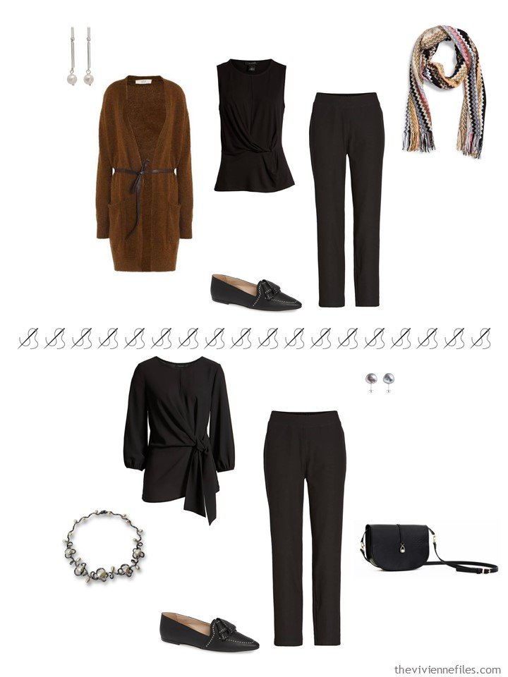 5. 2 ways to wear black pants from a travel capsule wardrobe