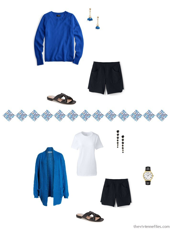 5. 2 ways to wear black shorts from a travel capsule wardrobe