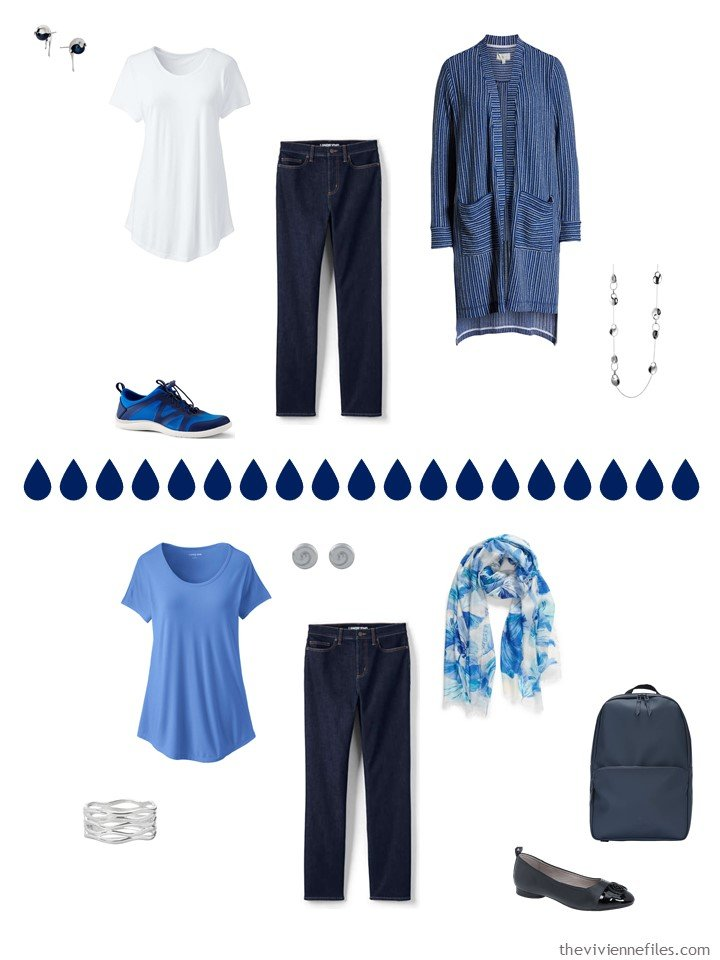 5. 2 ways to wear blue jeans from a capsule travel wardrobe