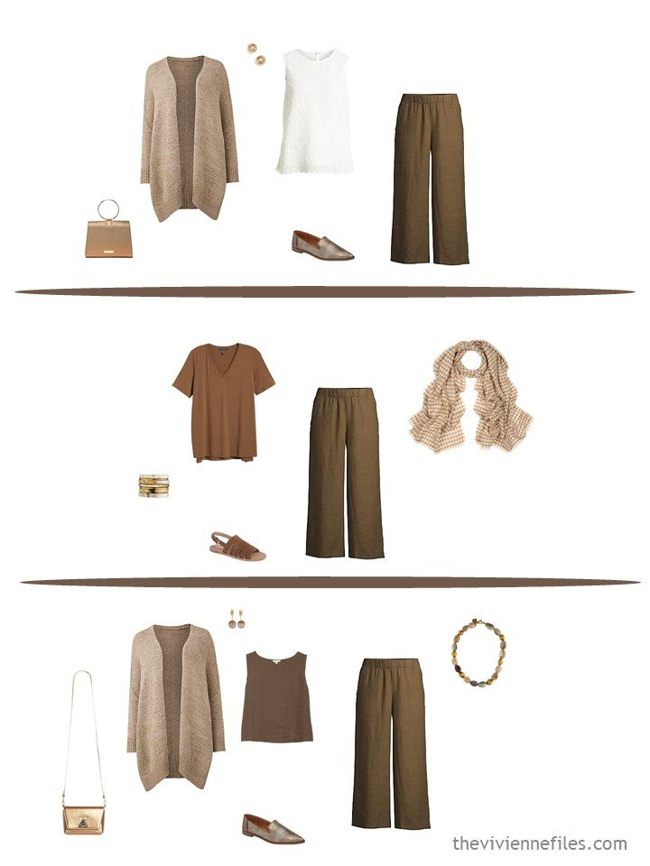 5. 3 ways to wear brown pants from a travel capsule wardrobe