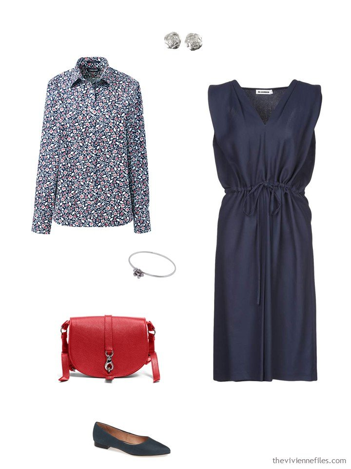 5. a floral shirt with a navy dress